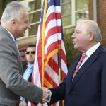 Semjén Zsolt nemzetpolitikáért felelős miniszterelnök-helyettes és David B. Cornstein amerikai nagykövet (MTI Fotó: Kovács Tamás)